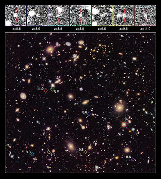 Redshift - Image: High redshift galaxy candidates in the Hubble Ultra Deep Field 2012