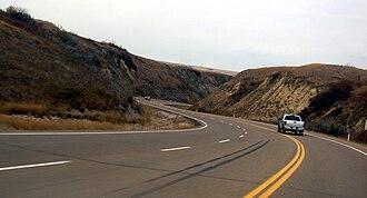 Alberta Highway 9 - Highway 9 descending into the Red Deer River valley in Drumheller