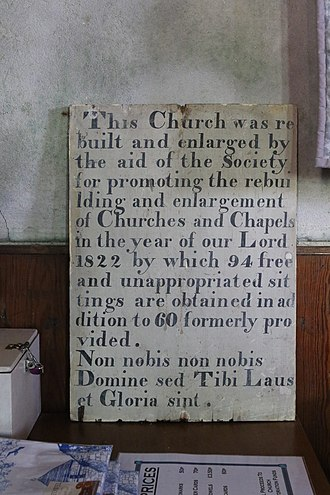 All Saints' Church, Bryher - History board for the 1822 restoration