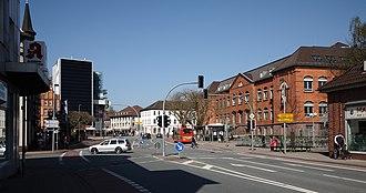 Holzminden - The ″Fürstenberger Street″ with view to the ″Haarmann Square (Haarmannplatz)″, named after the district building master Friedrich Ludwig Haarmann, right the Hochschule für angewandte Wissenschaft und Kunst (HAWK)
