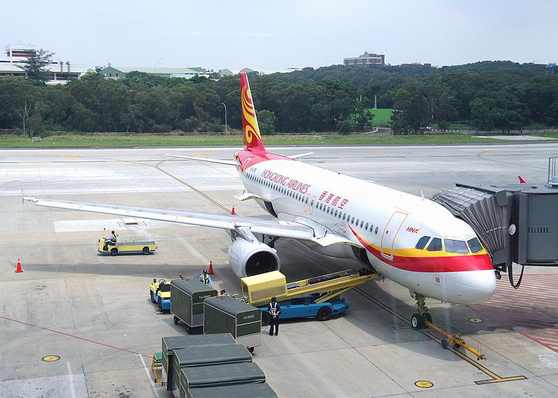 Hong Kong Airlines Airbus A320 parked at Taichung Airport, Taiwan