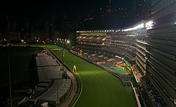 Happy Valley Racecourse in Hong Kong at night