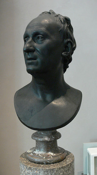 Denis Diderot House of Enlightenment - Plaster cast bust of Denis Diderot by Jean-Antoine Houdon, Paris 1780. Original in Bavarian National Museum Munich