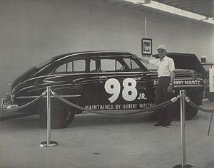 Hubert Westmoreland - Westmoreland with his Mantz-driven Plymouth at Darlington Museum