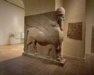 Human-headed winged bull (lamassu)