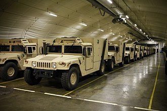 War reserve stock - United States Marine Corps vehicles stored in a Norwegian cave in 2012 as part of the Marine Corps Prepositioning Program-Norway