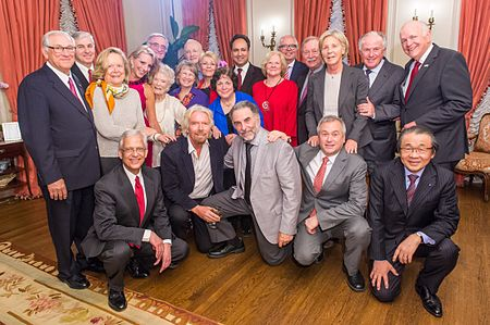 Richard Branson with his mother Eve, and the board of directors of the International Centre for Missing & Exploited Children, April 2014 ICMEC Board.jpg