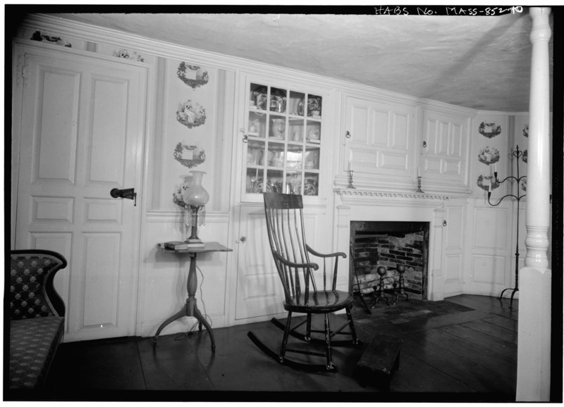File:INTERIOR, WEST END ROOM ON FIRST FLOOR, DETAIL OF FIREPLACE AND PANELING - Captain John Potter House, Exposition Grounds (moved from North Brookfield, MA), West Springfield, HABS MASS,7-SPRIFW,3-10.tif