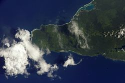 Satellite image of western end of Savai'i with Falelima on the south coast. (NASA photo, 2002)