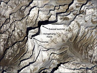 Mount Everest - Kangshung Face (the east face) as seen from orbit