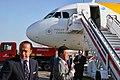 Iberia President; Antonio Vázquez & Airbus A320 EC-KNM Green flight (6211381075).jpg