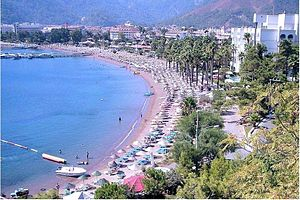 English: Beach at İçmeler, Marmaris, Turkey
