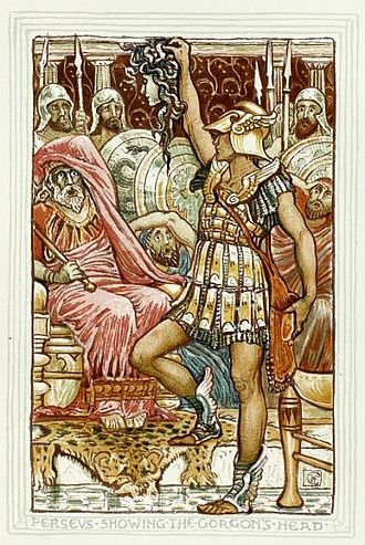 Petrifaction in mythology and fiction - Perseus turning King Polydectes to stone with the head of Medusa.