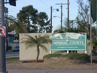 Imperial Courts - Imperial Courts sign near the 105 on-ramp