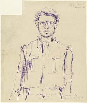 Ronald Searle - In the Jungle - Self Portrait, Konyu, Thailand Jungle, July 1943