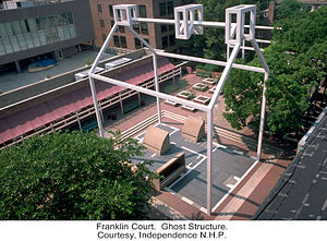 Franklin Court - The larger of Venturi and Rauch's ghost structures