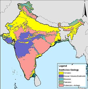 Geology of India - Map of chronostratigraphic divisions of India