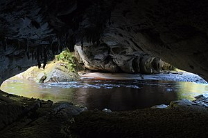 Oparara Basin Arches - Inside Moria Gate Arch; Oparara River flowing from left to right