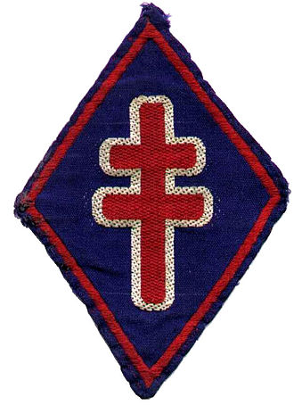 1st Free French Division - Badge of the 1st Free French Division. The divisional badge features the Cross of Lorraine