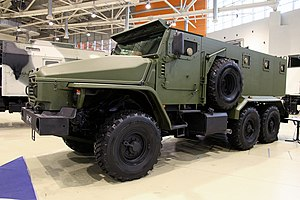 "National Guard Forces Command - Ural-VV - Armored vehicle designed on the basis of a multi-purpose vehicle ""Ural-4320"" 6 × 6 chassis."