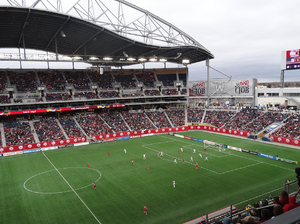 Investors Group Field - The Canada vs USA women's soccer game exhibition played in May, 2014 to a 1–1 draw.