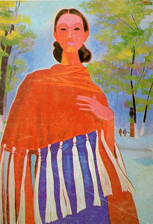 Rebozo - Painting of a woman with a rebozo by José Julio Gaona.