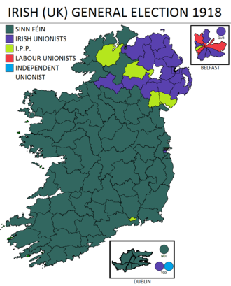 Partition of Ireland - Result of the 1918 general election in Ireland showing the collapse of the Irish Parliamentary Party and the dramatic swing in support for Sinn Féin from a base of zero seats