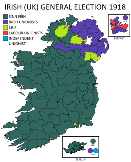 Result of the 1918 UK general election in Ireland Irish UK election 1918.png
