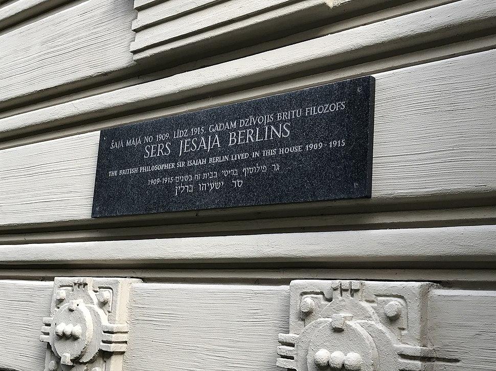 Isaiah Berlin plaque Riga