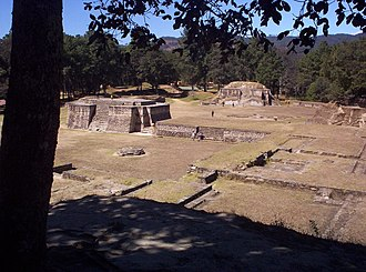 Iximche - View of Iximche with Structure 1 at left and Structure 2 at right.