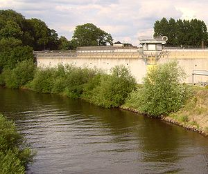 Celle Hole - Prison wall behind the river Aller