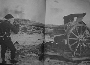 Black-and-white photograph of Churchill in uniform looking down the barrel of a large artillery gun with A stone barricade visible in the background