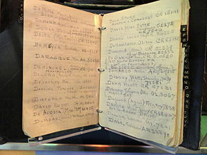 Address book - Jack L. Warner's address book on display at the National Museum of American History