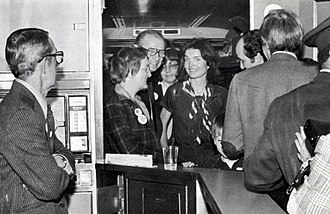 Penn Central Transportation Co. v. New York City - Jacqueline Kennedy Onassis (center) on board the Landmark Express, a special charter train by the Committee To Save Grand Central Terminal, on April 16, 1978. The group chartered the train to Washington D.C. for the day before oral arguments in the case.