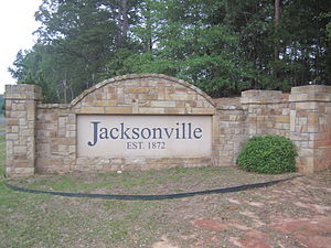 Jacksonville, Texas - Monument-style welcome sign at U.S. Highway 69's north approach to the city.