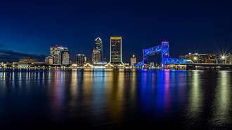 Eastern United States - Image: Jacksonville at Night (39527326802)