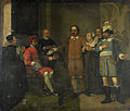 Jacob Simonsz de Rijk bewerkstelligt bij de Spaanse gouverneur-generaal Requesens de vrijlating van Marnix van Sint Aldegonde; episode uit de Tachtigjarige oorlog, 1575 Rijksmuseum SK-A-944.jpeg