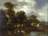 Jacob van Ruisdael - A Wooded Landscape with a Pond - Google Art Project.jpg