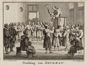 John Brugman - Brugman preaching. Engraving from Hermanus Schouten's Het Vaderlandse Geschiedenis Boek, 1788
