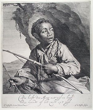 A Young Archer - Portrait of a moor with a bow and arrow by Jan de Visscher, c. 1650, after a drawing by Cornelis Visscher which was possibly inspired by the same subject