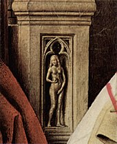Representation of Eve shown on the arm of the throne