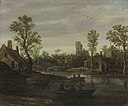 Jan van goyen a river landscape with a village beyond.jpg