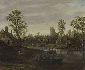 A river landscape with a village beyond