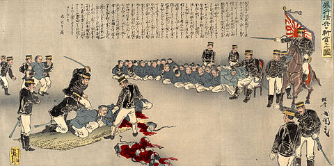 An illustration of Japanese soldiers beheading 38 Chinese POWs as a warning to others by Utagawa Kokunimasa Japanese Beheading 1894.jpg