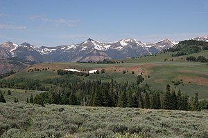 Jarbidge Mountains - Main peaks of range from the east, Matterhorn in center left