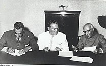 Jawaharlal Nehru, Nasser and Tito at the Conference of Non-Aligned Nations held in Belgrade.jpg