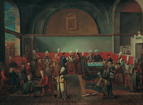 Ambassadors presenting their credentials at the Topkapi Palace in Constantinople Jean Baptiste Vanmour - Dinner at the Palace in Honour of an Ambassador - Google Art Project.jpg