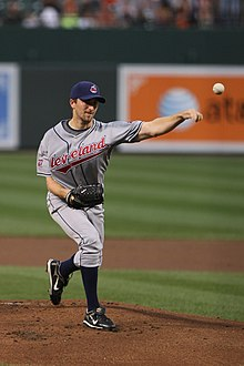 Jeremy Sowers throws a pitch, wearing a Cleveland Indians uniform