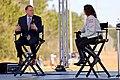 Jim Bridenstine talks to Leigh D'Angelo during coverage of SLS Green Run Test.jpg