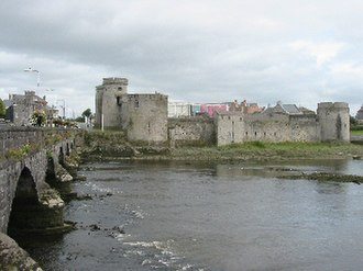 Cromwellian conquest of Ireland - King John's Castle and Thomond Bridge, Limerick city. Ireton took Limerick in 1651 after a long siege